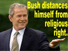 Bush distances himself from religious right - election ploy may still advance gay marriage.