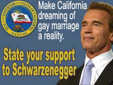 State your support to Schwarzenegger: make California dreaming of gay marriage a reality.