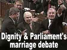Deignity and Parliament's marriage debate (Photo of Speaker of the House of Commons, surrounded by party leaders)