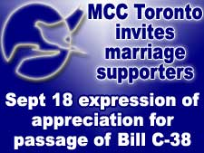 MCC Toronto invites marriage supporters to an expression of appreciation for passage of Bill C-38