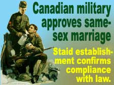 Canadian military approves gay marriage