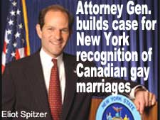 Attorney Gen. builds case for New York recognition of Canadian gay marriages.