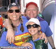 Martha McCarthy and daughter, and Douglas Elliott (photo by equalmarriage.ca, 2006)